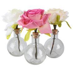 roos in vaasje ca.18cm glas div.kleuren