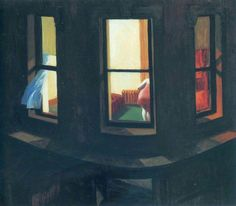 Night Windows, 1928 by Edward Hopper Attending to private affairs in her apartment, the anonymous woman inNight Windows is unaware of any viewer's gaze. The painting exposes the voyeuristic opportunities of the modern American city, and the contradiction it offers between access to the intimate lives of strangers and urban loneliness and isolation. The city at night is a frequent subject in Hopper's work of the late 1920s and early '30s. Here, the composition of three windows allows for a…
