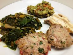 Pork, Bacon, and Cilantro Meat Balls, Chicken, Swiss Chard, and Guacamole: 7/2/13