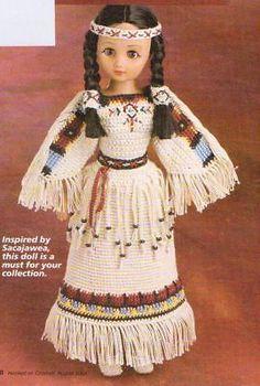 "INDIAN MAIDEN 15"" DOLL DRESS DIGEST SIZE CROCHET PATTERN INSTRUCTIONS"