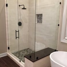 Bathroom decor for the master bathroom remodel. Learn bathroom organization, bathroom decor suggestions, master bathroom tile a few ideas, master bathroom paint colors, and more. Design Rustique, Large Bathrooms, Master Bathrooms, Tile For Small Bathroom, Small Tile Shower, Master Bathroom Shower, Shower Rooms, Master Baths, Bathroom Showers