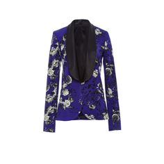 Prabal Gurung     Floral Printed Tuxedo Jacket ($1,995) ❤ liked on Polyvore featuring outerwear, jackets, dinner jacket, prabal gurung, blue dinner jacket, tailored jacket and flower print jacket