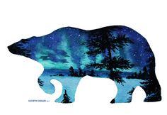 Polar Bear and Northern Lights- Original Watercolor.  Copyright Kathryn Chenard https://www.etsy.com/shop/KathrynChenard?ref=hdr_shop_menu