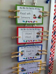 Display idea for group rotations - could use for guided reading, literacy or maths groups. Give students some autonomy in selecting their activity, rotating through the stations and moving their pegs.