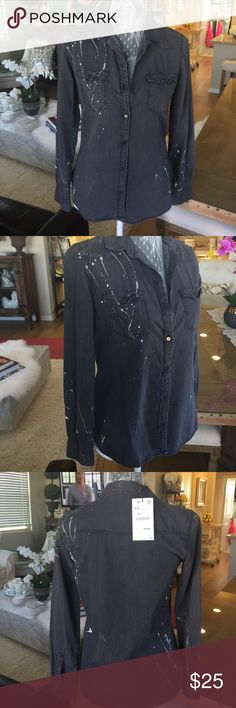 Zara Shirt Zara shirt with distressed white textured paint print look. New with tags Size XS Zara Tops Button Down Shirts
