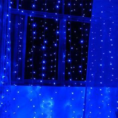 AMARS 300leds Bedroom LED Icicle Curtain Lights LED Window Wall Waterfall Decoration Lights Outdoor Indoor 8 Modes for Wedding Party Blue ** Visit the image link more details.