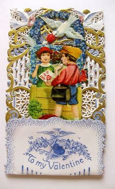 1920s Pull Down Pop Out Valentine's Day Card Boy Giving Girl Love Letter