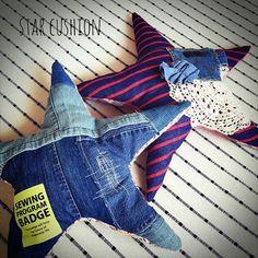 star cushion! #ハンドメイド#ハンドメイド小物#ハンドメイドインテリア#インテリア#スターフィッシュ#手作り