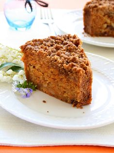 Impress and delight with this moist, sweet and tender Carrot Crumb Cake Recipe. It's naturally dairy-free, soy-free, and vegan - no cream cheese required!