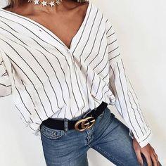 Striped loose V-neck top