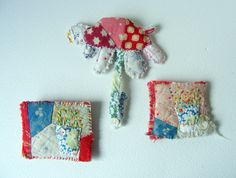 antique quilt brooches hand stitched and hand embroidered