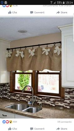 Burlap and White DIY Kitchen Valances. We werent sure if we could create kitchen… Minus the bows. Not really a bow girl. Burlap and White DIY Kitchen Valances. Source by Ideas on How to Choose the Right Styles of Kitchen Valances For Your Kitchen variou Kitchen Window Treatments, Home Diy, Home Kitchens, Kitchen Window Valances, Easy Home Decor, Chic Kitchen, Home Decor, Shabby Chic Kitchen, White Diy Kitchens