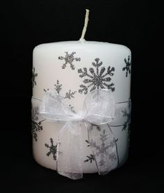 stamped tissue paper candles