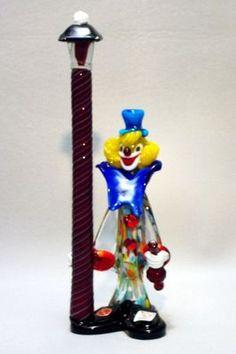 """Murano clown confetti body red bottle red pole 12"""" New"""