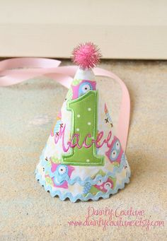 Girls First Birthday Party Hat  Owl themed hat in by daintycouture, $25.00