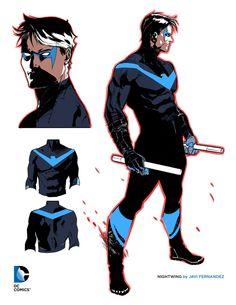 DC Rebirth art: Nightwing design by Javi Fernandez Arte Dc Comics, Batman Comics, Batman And Superman, Batman Stuff, Batman Art, Spiderman, Dc Rebirth, Comic Book Characters, Comic Character