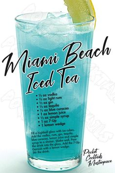 Iced Tea Cocktails, Cocktail Drinks, Cocktail Recipes, Beach Cocktails, Beach Party Drinks, Fancy Drinks, Mixed Drinks Alcohol, Alcohol Drink Recipes, Fruity Mixed Drinks