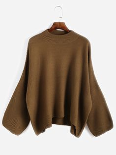 5bf4ab1165 Khaki Drop Shoulder Loose Sweater — € ----------------------color  Khaki  size  one-size