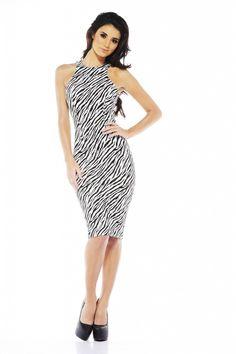 Zebra Print Midi Dress via shopmodmint.com   wud add a colore blazer and shoes.