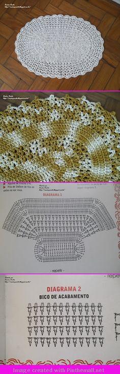 Crochet rug - two versions of one pattern Crochet Doily Rug, Crochet Placemats, Crochet Carpet, Crochet Home, Filet Crochet, Crochet Stitches, Knit Crochet, Crochet Designs, Crochet Patterns