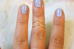 Chevron Hammered Brass or Silver Plated Wire Knuckle Ring Set, Stacking Rings. $16.50, via Etsy.