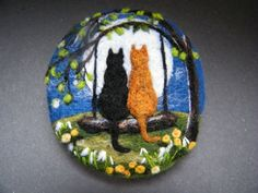This brooch is needle felted using Merino wool. The base is made by sculpting the wool by piercing it hundreds of times using a special felting needle, and the design is then added as though painting with the fibres. | eBay!