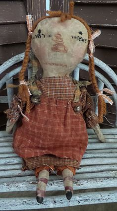 Primitive, Very Primitive, Antique, Vintage, Raggedy Ann, Doll, Fall, Pumpkin, Miniature, Time Worn, Old Rag Doll, Cloth Doll by Mustard…