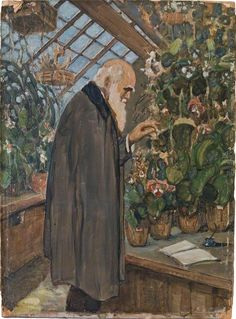 Charles Darwin in the Greenhouse with a Notebook, Victor Eustaphieff (1916–1989)