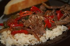 This recipe is from Super Suppers, the franchise that allows families to prepare meals ahead of time in their central kitchen. They do the prep, you do the assembly for  quick dinners from the freezer. I love flank steak and this sweet/spicy combination appealed to me.   The addition of pepper is mine and the way I like this dish.