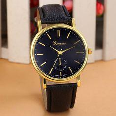 cac289141e9 2016 New Famous Brand Geneva Gold Casual Quartz Watch Women Lether Strap  Dress Watches Relogio Feminino White Clock Hot Hours