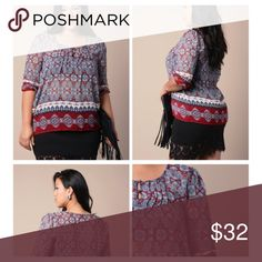 Beautiful boho style top Beautiful boho style top new no tags Tops Blouses