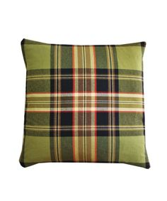 """Preppy Plaid Throw Pillow: featuring shades of black, chocolate brown, olive green & red/orange cotton/wool blend.  19"""" x 19"""" down insert included (68.00)"""