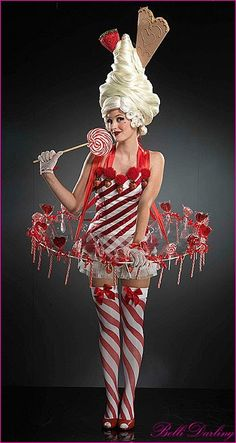 """December candy girl costume. Pass on hoop ??? (club too crowded, can't move or dance in it!) ALREADY HAVE: thigh highs, red pumps, lollipop, white ruffle panties, short white dress (add red electrical tape & ribbons to create candy cane effect), a dozen candy canes, red christmas ribbon, white gloves (add red ribbons). STILL NEED - wig, candy cane cone, & pink ribbons for """"hat"""" piece."""