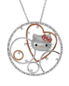 Hello Kitty 0 1 CTW Sapphire Gold and Sterling Silver Necklace Weight 14 Hello Kitty Car, Sanrio Hello Kitty, Here Kitty Kitty, Hello Hello, Hello Kitty Jewelry, Hello Kitty Accessories, Princess Kitty, Mother Daughter Necklace, Kitty Images