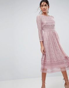 Order ASOS PREMIUM Lace Midi Skater Dress online today at ASOS for fast delivery, multiple payment options and hassle-free returns (Ts&Cs apply). Get the latest trends with ASOS. Midi Dress With Sleeves, Lace Midi Dress, Asos Dress, Pink Dress, Strapless Dress, Dresses To Wear To A Wedding, Bridesmaid Dresses, Wedding Outfits, Fall Dresses