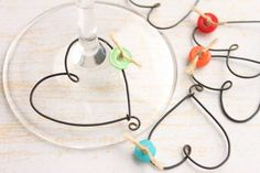 Rustic Heart and Button Wine Glass Charm set 6 by kraze4paper, $12.00