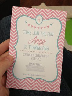 first birthday invitation with chevron, birds & bunting flag AND treat bag tags - DIGITAL FILE. $15.00, via Etsy.