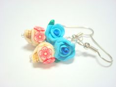 Tiny Turquoise Red White Day of the Dead Sugar Skull Earrings by PennysLane, $8.50