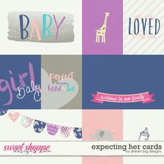 Expecting Her Cards by Dream Big Designs - digital pocket scrapbooking journaling cards perfect for hybrid projects. Scrapbooking Digital, Pocket Scrapbooking, Scrapbook Quotes, Baby Journal, Big Design, Kit, First Girl, Printable Paper, Paper Background
