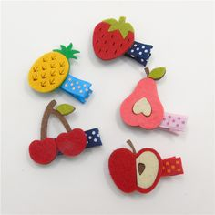 20pcs/lot Fruit Hairpins Non woven Felt Colorful Pineapple Cherry Pear Apple…