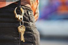 Brass Keyring Chain & Bottle Opener Hook: Solid Brass Block  | @giftryapp