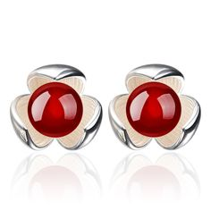silver plated earrings imitation pearl products lucky clover black red agate jewelry ladies diamond jewelry Shambhala