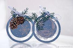 """Купить """"С Новым Годом!"""" бирки-ярлычки - голубой, Снег, открытка, новогоднее украшение, бирка"""