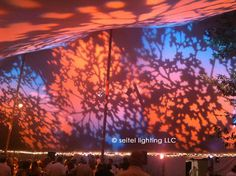 Amber, pink, lavender, and blue foliage patterns projected with theatrical lekos create a bold canopy for this wedding reception.