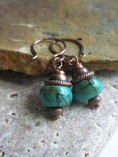 Gemstone+Earrings+Turquoise+Howlite+and+Copper+by+esdesigns65