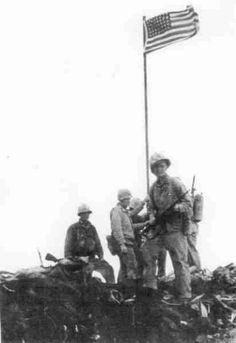 First flag raised on mount Suribachi,Iwo Jima