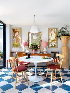 Interior Exterior, Home Interior, Beata Heuman, Sweet Home, Long Sofa, Floor Finishes, Bedroom Wall, Decoration, Dining Area