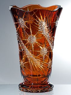 Bohemian Amber Cut Glass Thistle Vase by kari Crystal Glassware, Antique Glassware, Crystal Vase, Art Of Glass, Cut Glass, Vase Cristal, Vases, Glass Ceramic, Carnival Glass