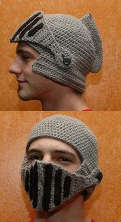 Funny pictures about Crocheted Knight Helmet. Oh, and cool pics about Crocheted Knight Helmet. Also, Crocheted Knight Helmet photos. Crochet Crafts, Yarn Crafts, Crochet Projects, Knit Crochet, Medieval Hats, Medieval Knight, Knights Helmet, Mittens, Knitted Hats