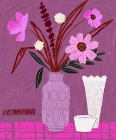 Gouache, Illustration Art, Illustrations, Purple, Pink, Paint Colors, Beautiful Flowers, Print Patterns, Artsy